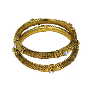 Gold Tone Bangles Adorned With CZ Stones, 2-4