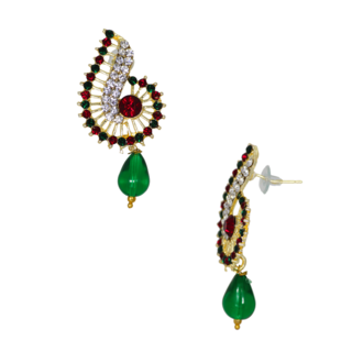 Red Green Ethnic Stud Earrings With Dangling Pearl