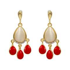 Gold Tone Fashion Earrings With Dangling Red Stones