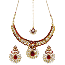 Maroon Necklace Set Studded With Kundan and Stones
