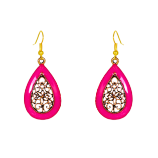Water Drop Shape Pink Dangler Earring For Women