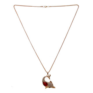 Dolphin Fashion Pendant Adorned With White And Red Stones