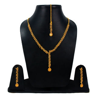 Golden Stone Stylish Necklace With CZ Stones