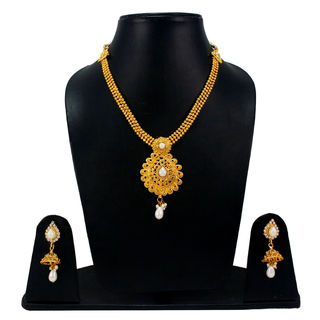 White And Golden Necklace Set With Jhumki Earrings