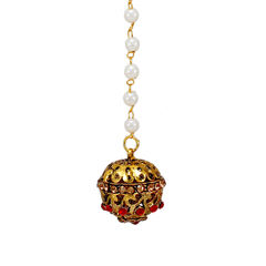 Red And Golden Traditional Borla Maang Tikka For Women