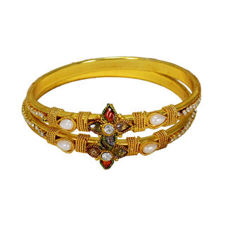Traditional Bangle Set With Red Green Flower Design, 2-6