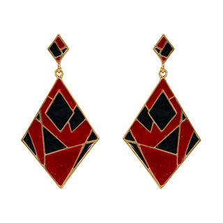 Trendy Black And Red Alloy Danglers For Girls,  red, 14 cm, m