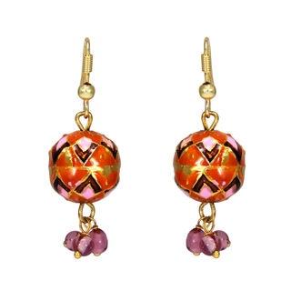 Orange And Pink Ethnic Jhumki With Dangling Pearls