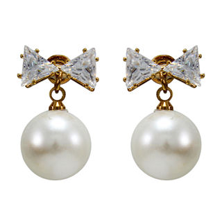 Bow Style Pearl Adorned Fashion Studs