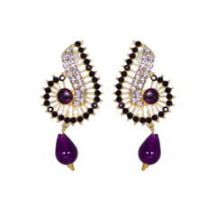 Purple Stud Earrings with White Stone On Gold Base For Women