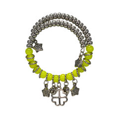 Fabulous Bracelet In Green And Silver Design For Women, adjustable