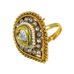 Gold Tone Kundan Studded Ring With Silver Stones For Women, adjustable