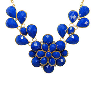 Floral Design Inspired Blue Beads Alloy Necklace