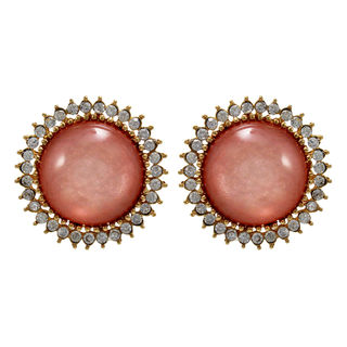 Round Pink Stone Adorned Studs For Women