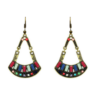 Oxidised Silver Multi-Color Beads Earrings For Women
