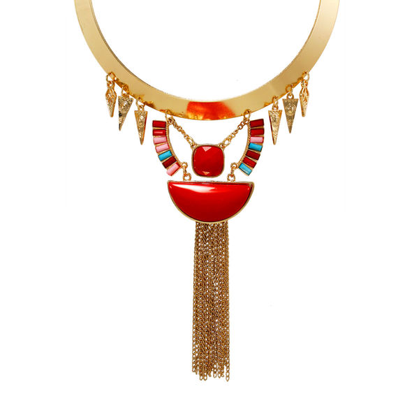 Stylish Red And Golden Tribal Necklace For Women