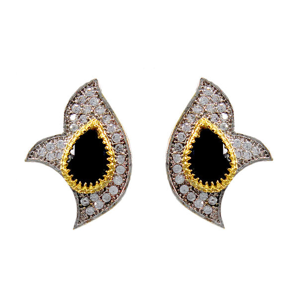 Black Stone And American Diamond Adorned Fashion Earrings