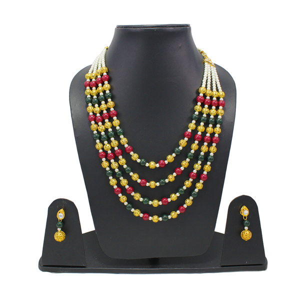 Multi-Color Beads Pearl Necklace Set For Women
