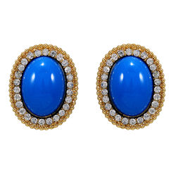 Gold Tone Studs Embellished With Blue Stones