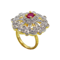 American Diamond Ring With Pink Stone For Women