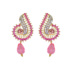 Curvy Design Ethnic Studs In Pink And White Stones