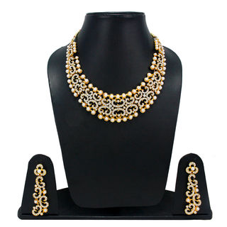 Beautiful White And Golden Necklace Set For Women