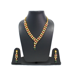 Gold Tone Red Green Necklace Set