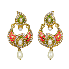 Attractive Orange And Green Dangler On Gold Tone