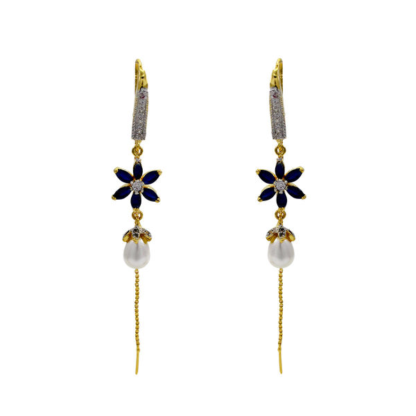 American Diamond Floral Earring With Dangling Chain And Pearl