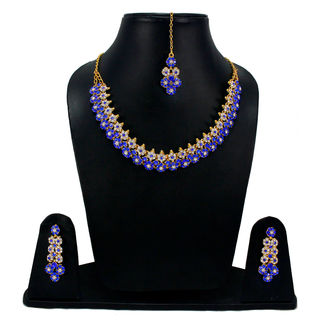 Blue Stones Adorned Floral Sleek Necklace For Women