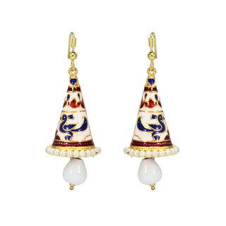 Meenakari Design On White Tone Ethnic Jhumki