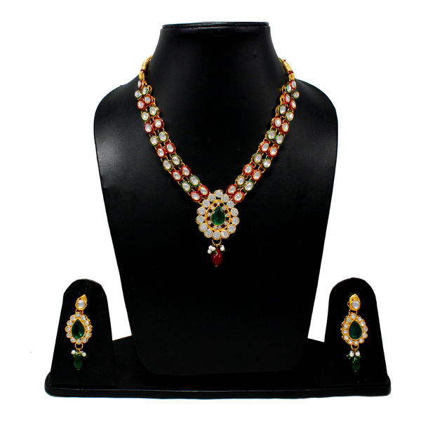 Ethnic Necklace Set Adorned With Red And Green Stones