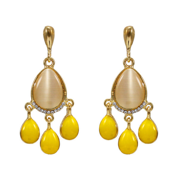 Gold Tone Fashion Earrings With Dangling Yellow Stones