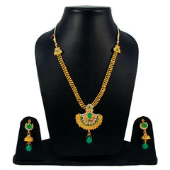 Beautiful Golden Necklace Set Adorned With Green Stones