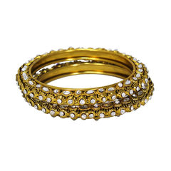 Gold Tone Traditional Bangles Adorned With White CZ Stones, 2-8