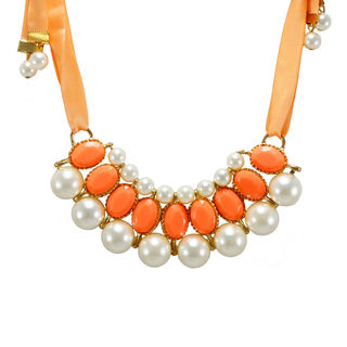 Orange Ribbon Tie Up Necklace Adorned With Stones And Pearl