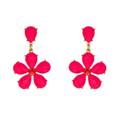 Alluring Danglers With Pink Stone On Gold Tone