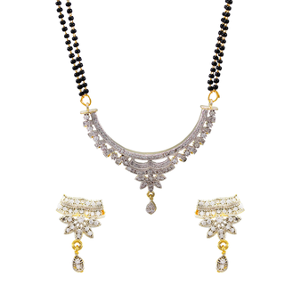 American Diamond Mangalsutra For Women - White, Golden
