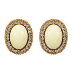 Gold Tone Studs Embellished With White Stones