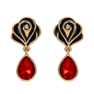 Red Stone With Rose Design Studs