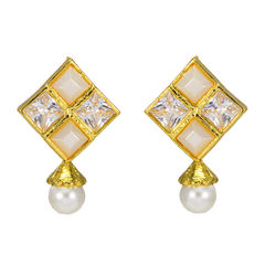 White And Golden Square Studs With Dangling Pearl
