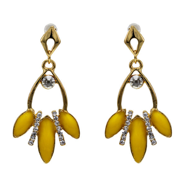 White Stone And Yellow Leaf Design Adorned Earrings