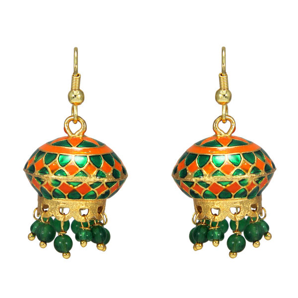 Unique Temple Design Green Earrings