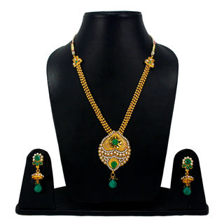 Green Stones Adorned Golden Necklace Set For Women