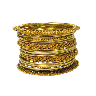Unique Curvy Wire Design on Gold Tone Bangles Set For Women, 2-6