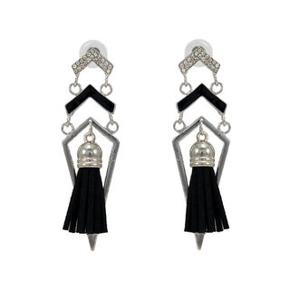 Stylish Silver And Black Fashion Danglers For Girls