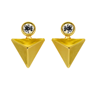Golden Fashion Studs With Dangling Triangle