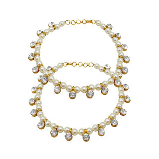 White Pearl Adorned Beautiful Anklet For Women