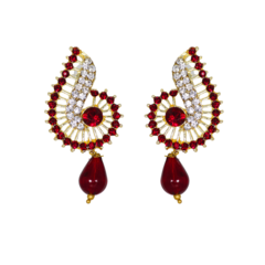 Golden Tops With Studded Red And White Stones