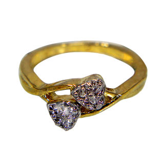 Dual Heart Ring With Studded Stones For Women, 10